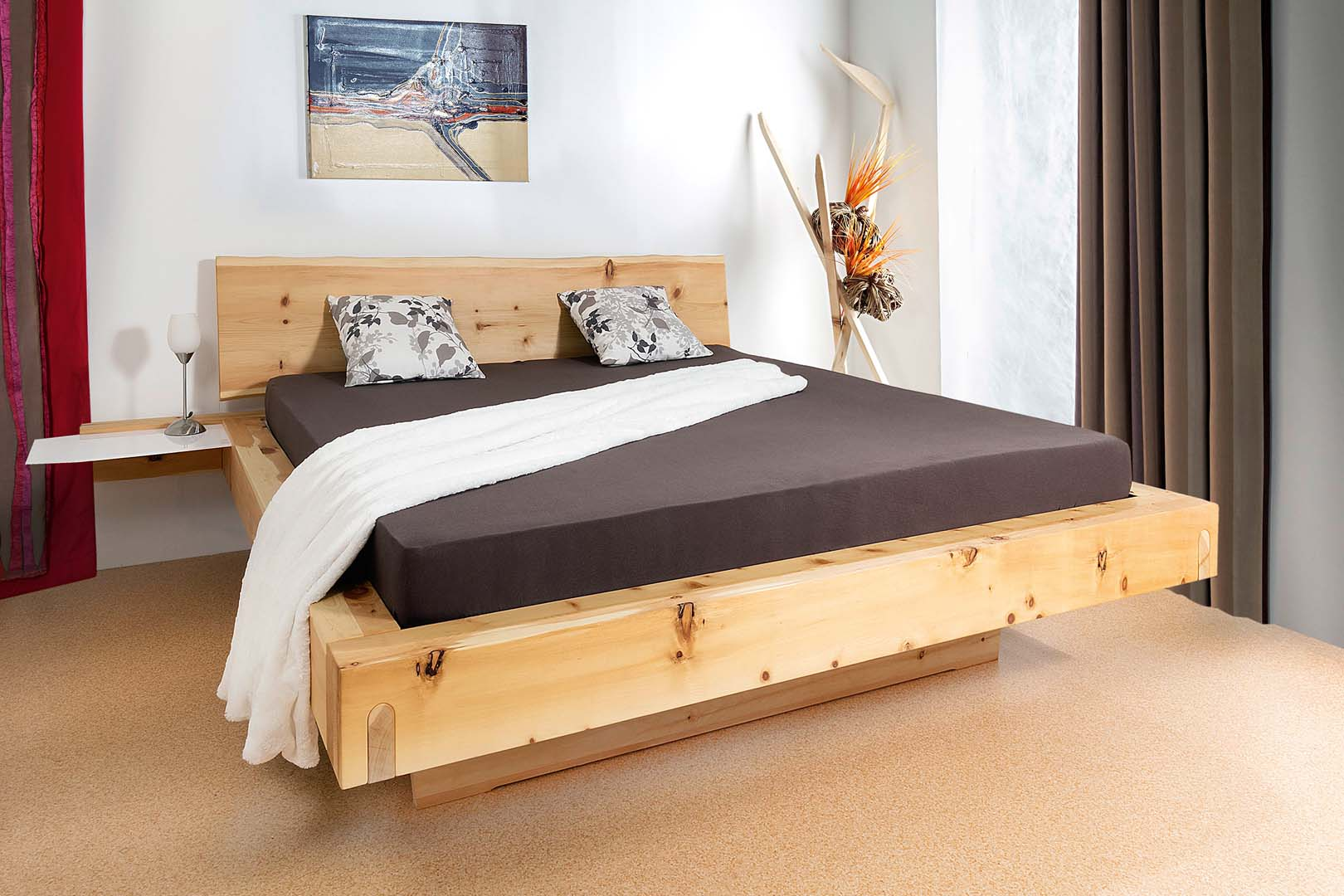 Balkenbett Tries in Zirbenholz