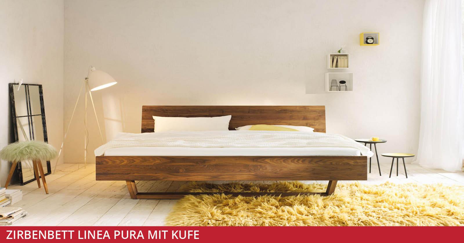 Zirbenbett-Linea-Pura-mit-Kufe