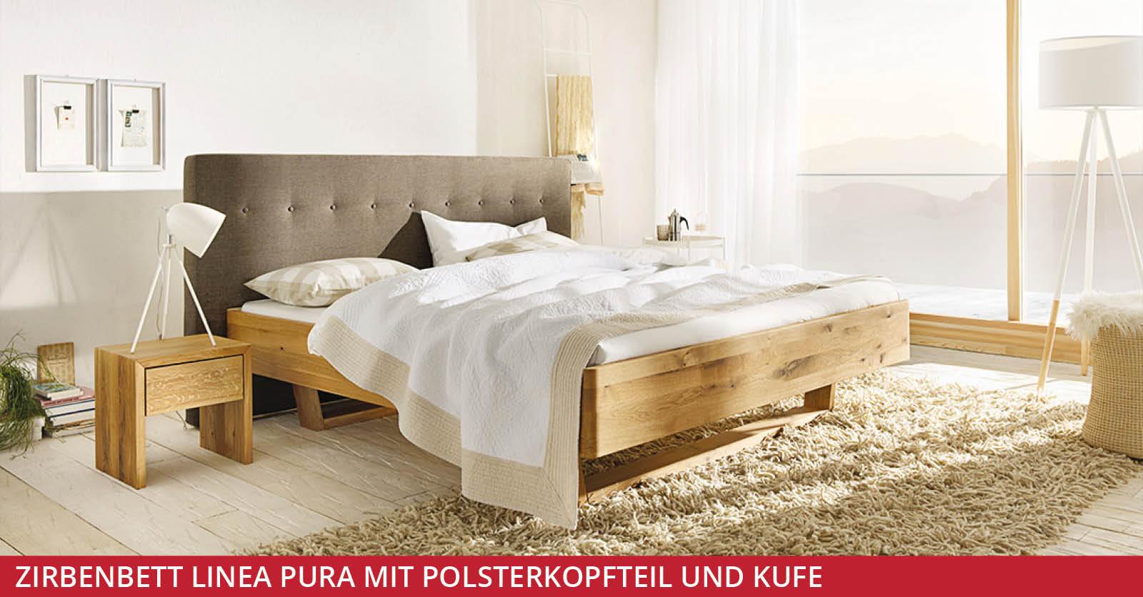 Zirbenbett-Linea-Pura-mit-Polsterkopfteil-und-Kufe