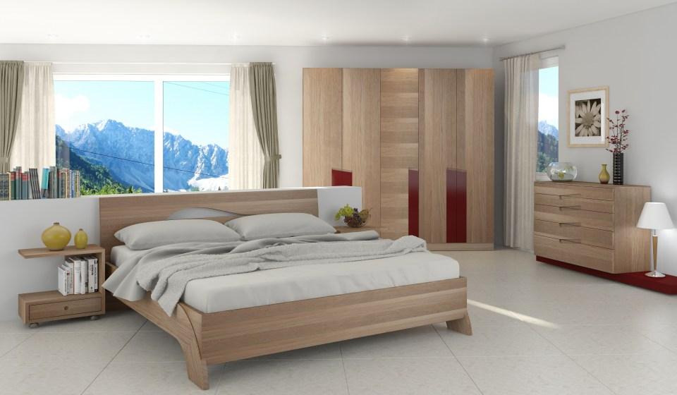 Schlafzimmer Fly mit Schrank und Bett in Eiche