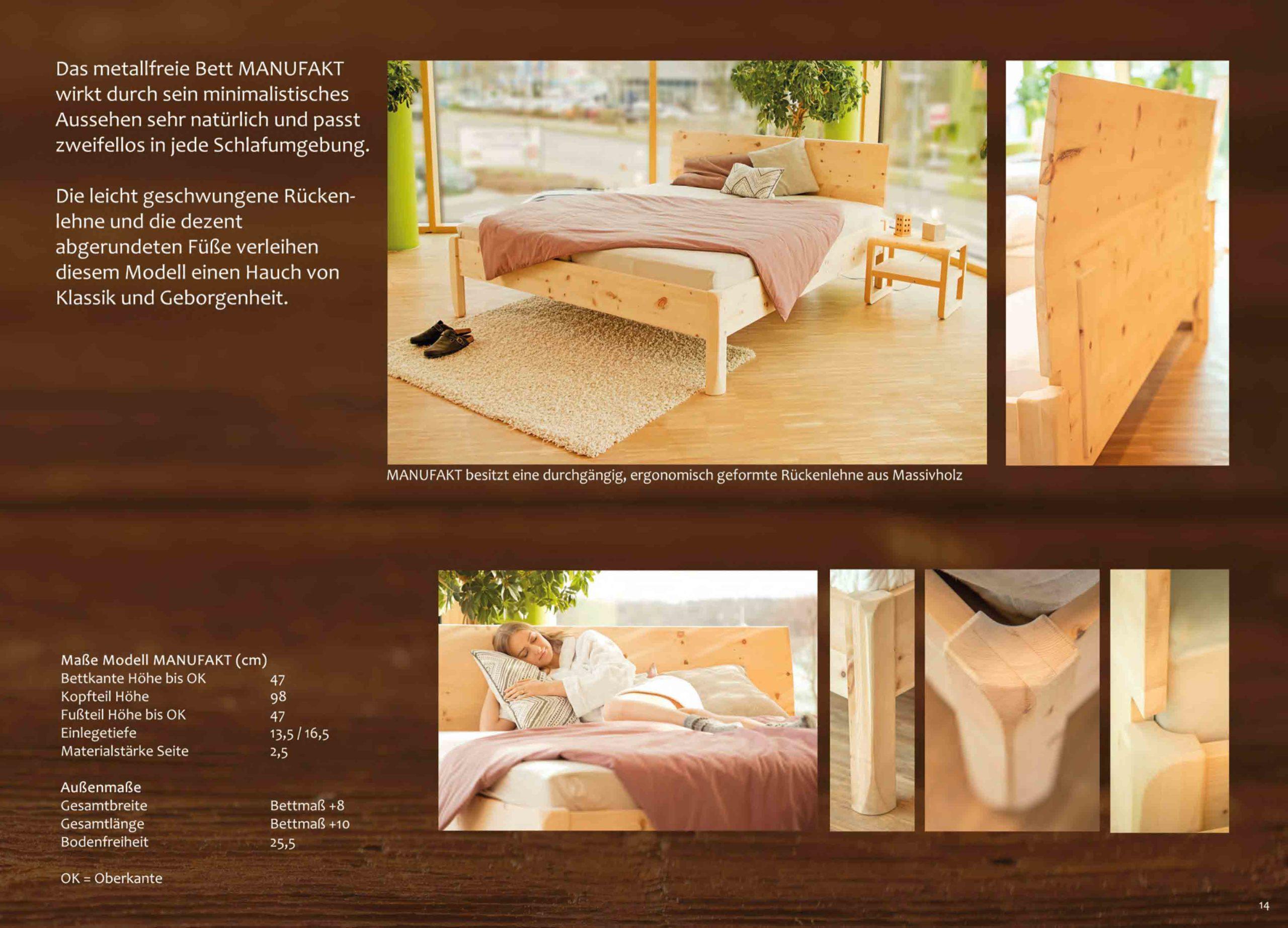 Minimalistisches Bett Manufact - metallfreies Massivholzbett