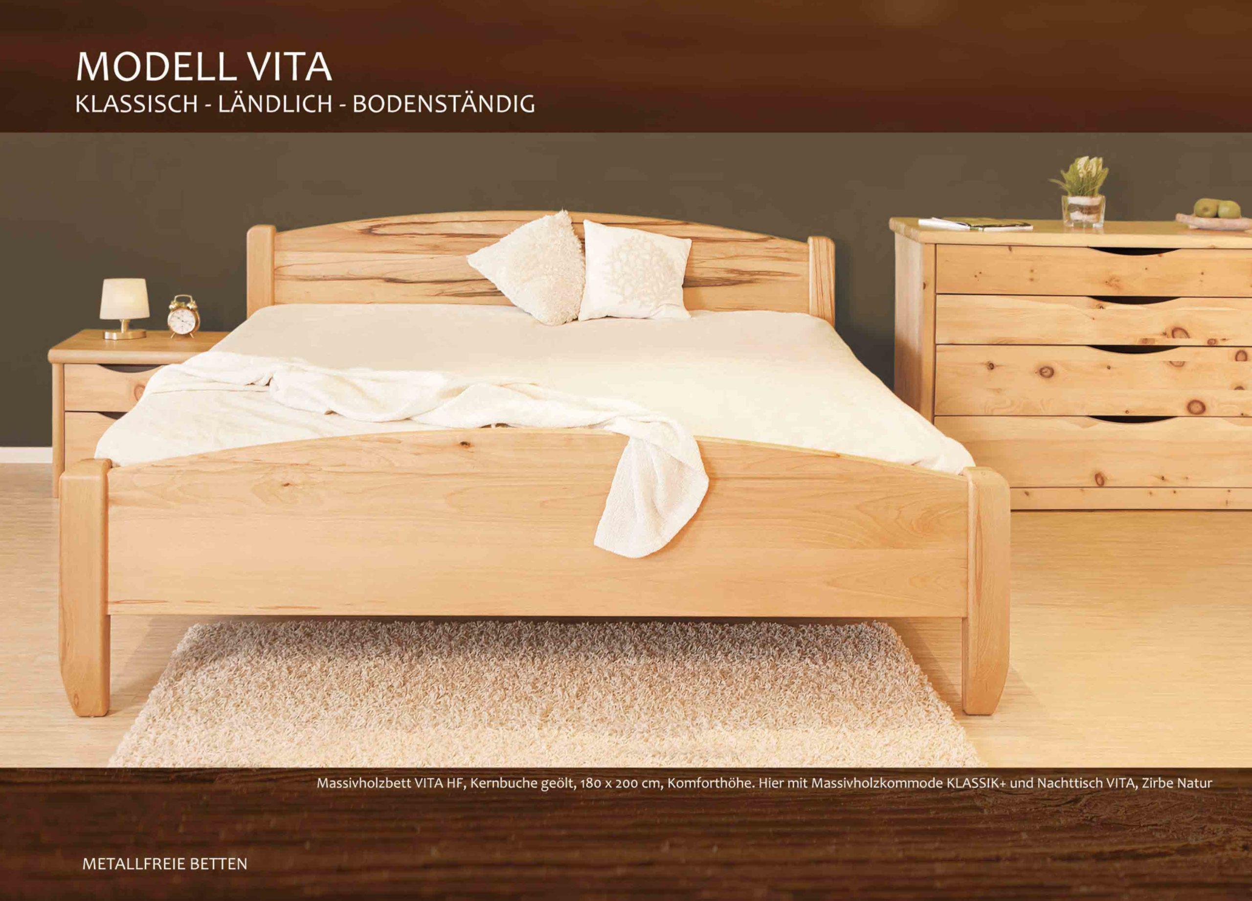 Massivholzbett Vita mit Kommode und Nachtkästchen