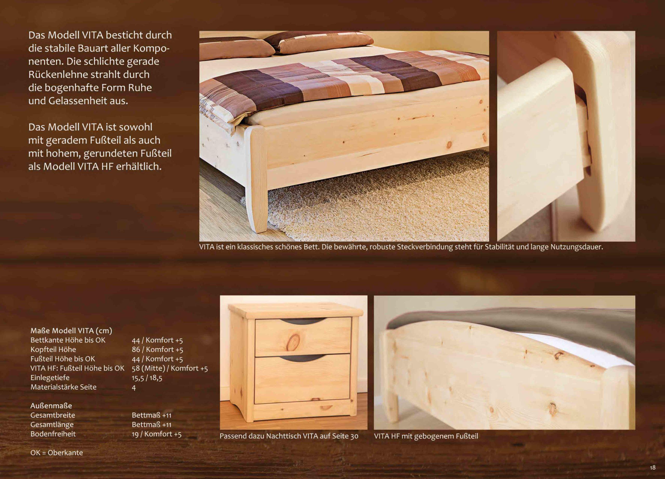 Zirbenholzbett Vita mit Kommode und Nachtkästchen