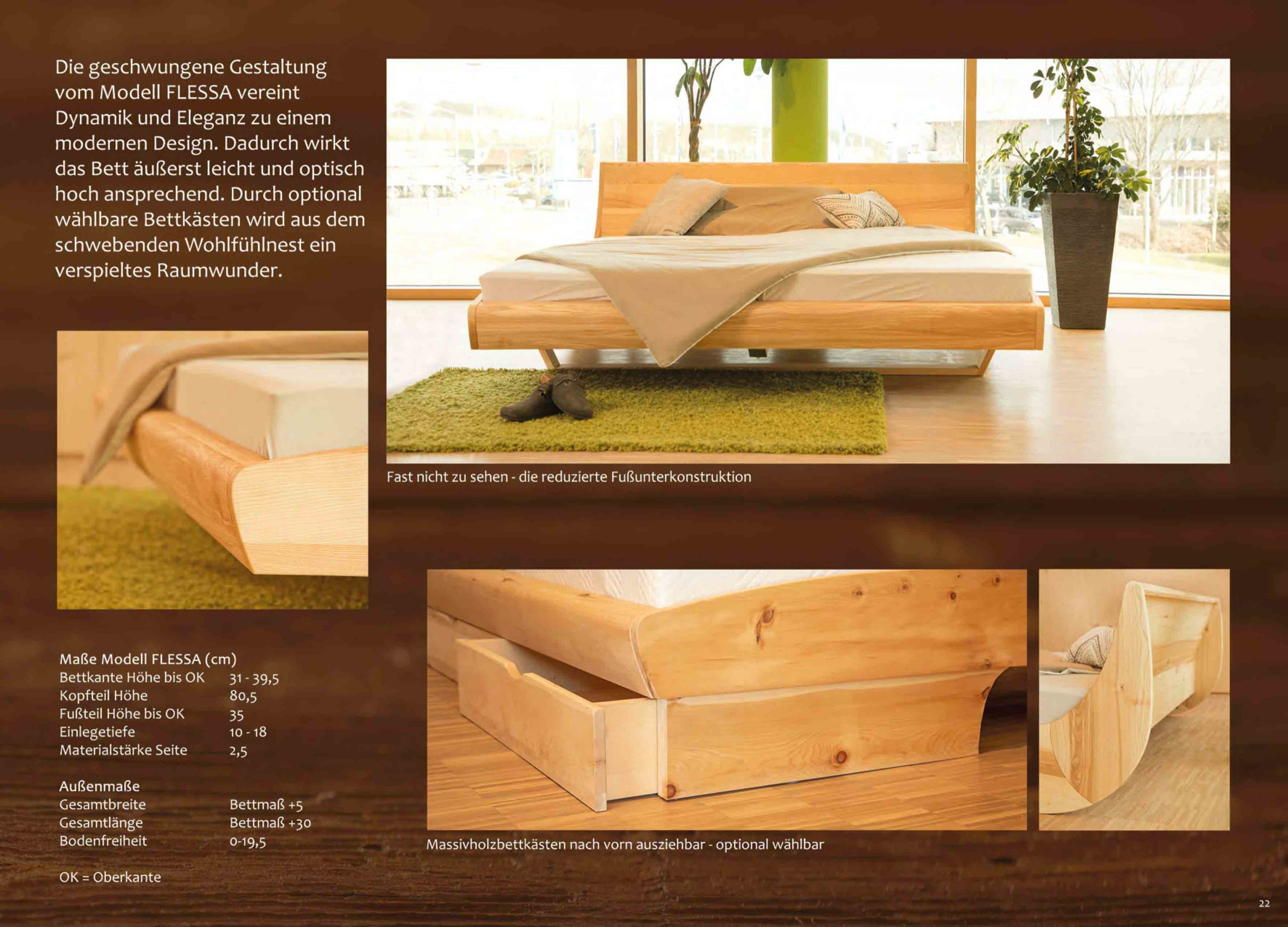 Stauraumbett Flessa mit Massivholz Bettkästen