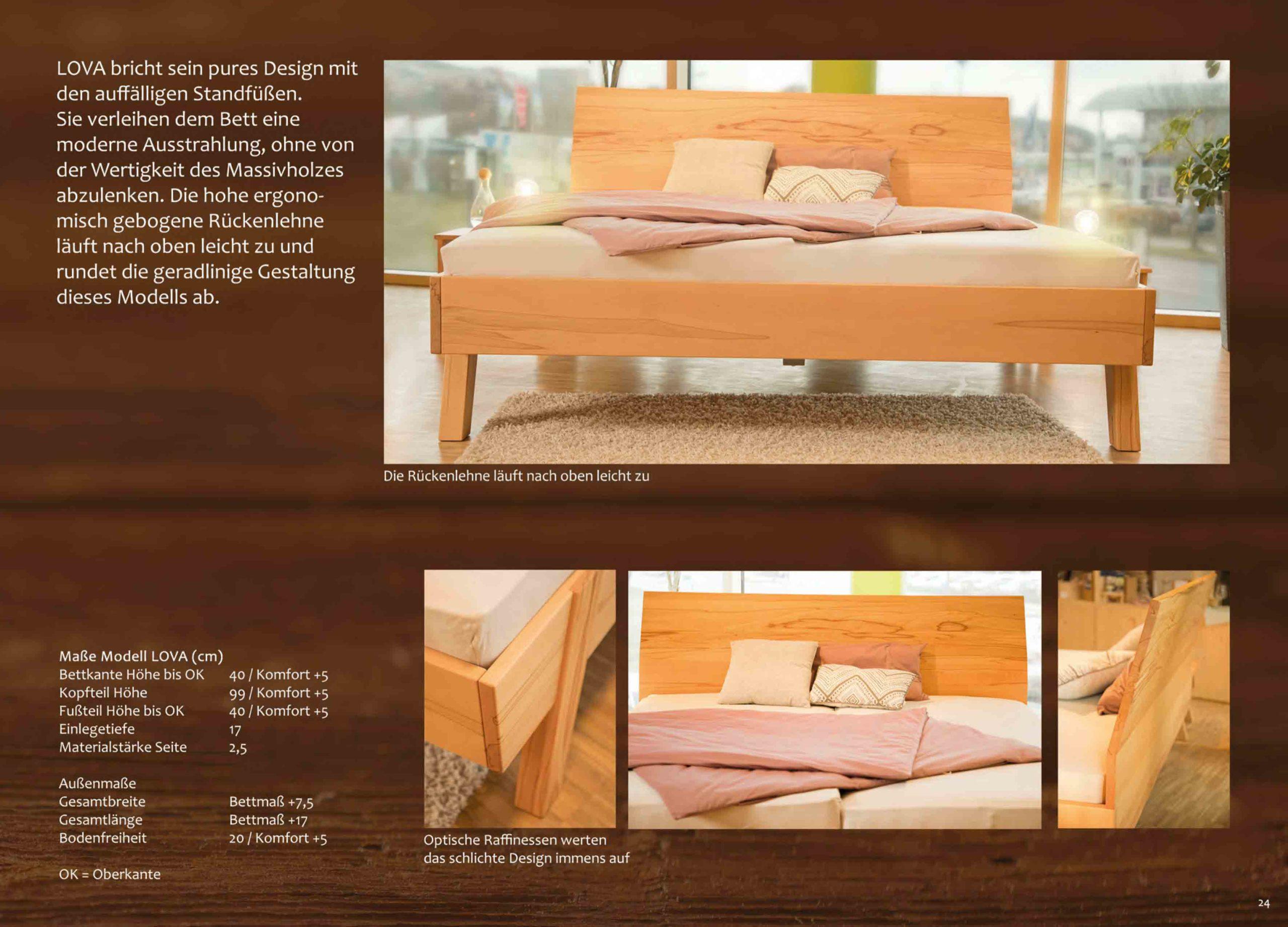 Modell Lova, modernes Massivholzbett