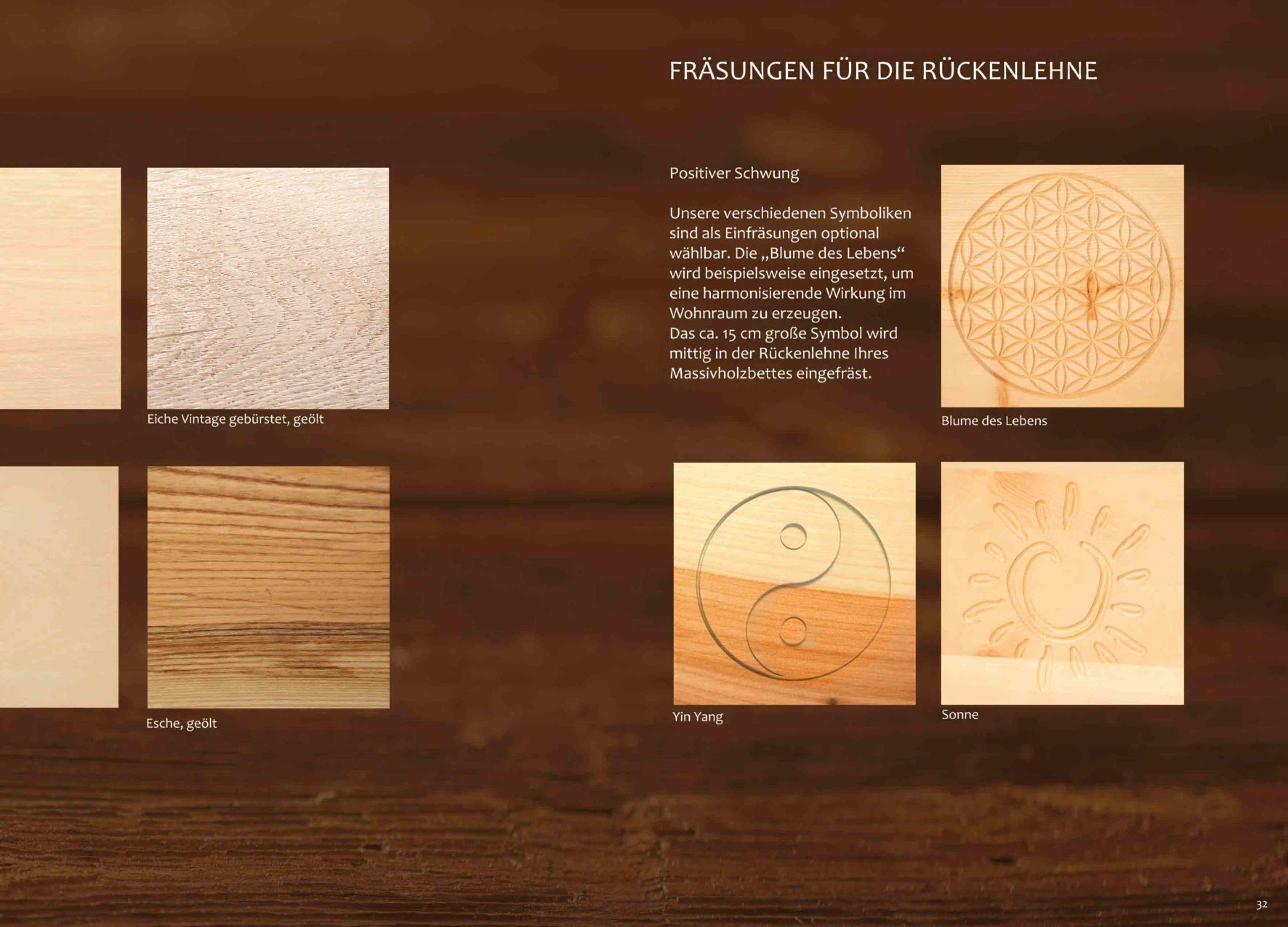 Holzarten für unsere Massivholzbetten und Einfräsungen für die Rückenlehne